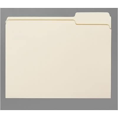 Quill Brand® Economy Manila File Folders; 9-1/2 pt Stock, 1-Ply, 1/3-Cut Assorted Tabs, Letter Size, 100/BX