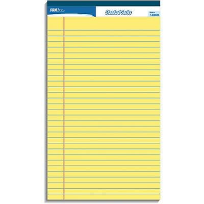 Quill Brand® Standard Series Ruled Legal Pad 8-1/2x14; Wide Ruled, Canary Yellow, 50 Sheets/Pad, 12 Pack
