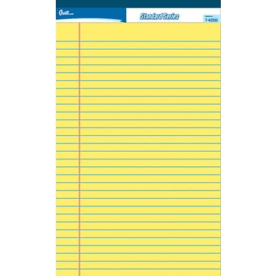 Quill Brand® Standard Series Ruled Legal Pad Junior Size 5x8; Wide Ruled, Canary Yellow, 50 Sheets/Pad, 12 Pack