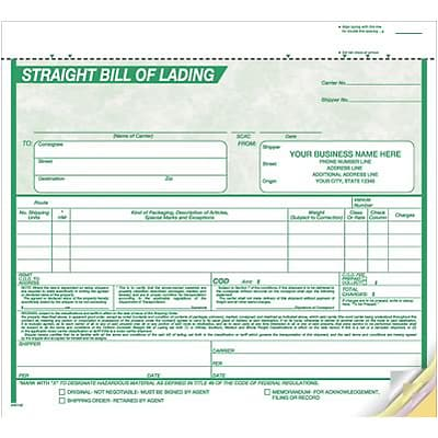 8-1/2x7 3-part Bill of Lading; Green