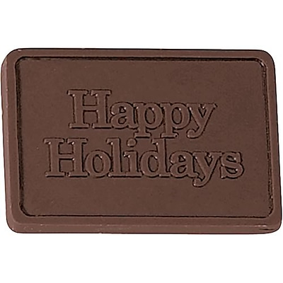 Chocolate Inn® Chocolate Business Card & Holder; Dark Chocolate, Happy Holidays Greeting, Silver Box