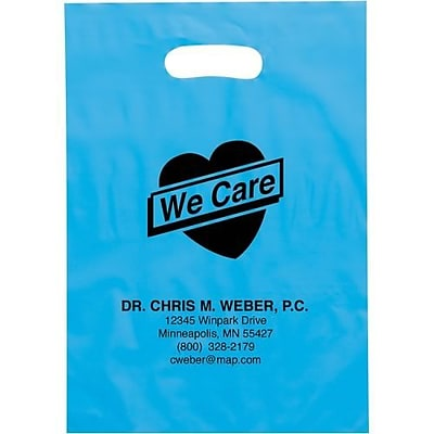 Personalized Die Cut Handle Supply Bags; 15x12x3