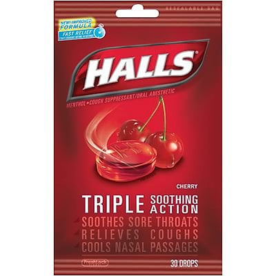 Halls® Cough Drops; Cherry, 30 Count, 12 Bags/Box