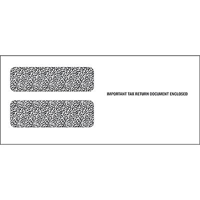 TOPS Gummed 3 Up 1099 Tax Double Window Envelope, 24 lb., White, 3 3/4 x 8 1/2, 100/Pack (7950862100)