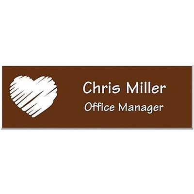 Engraved Identification Badges; 1x3, Warm Brown with White Letters