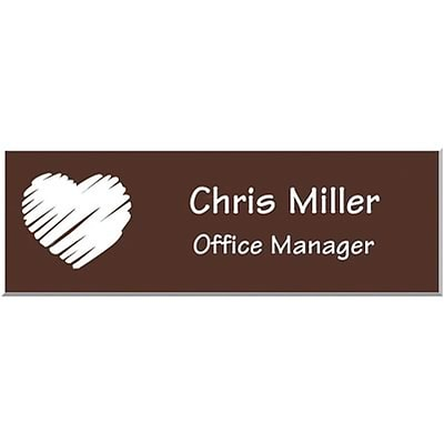 Engraved Identification Badges; 1x3, Dark Brown with White Letters