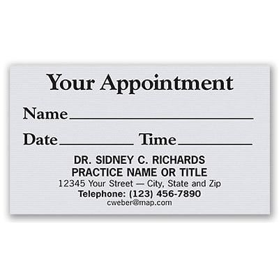 Basic Appointment Cards; Layout G, Laid Finish, Gray
