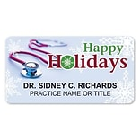Medical Arts Press® Full-Color Seasonal Name Badges; Standard, Holiday Stethoscope