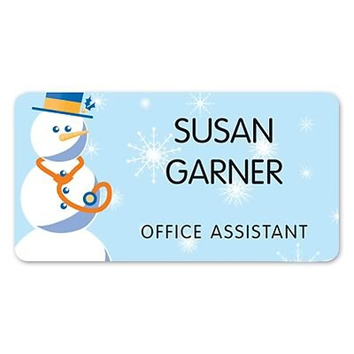 Medical Arts Press® Full-Color Seasonal Name Badges; Standard, Seasonal Snowman