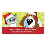 Medical Arts Press® Full-Color Seasonal Name Badges; Standard, Santa Pets