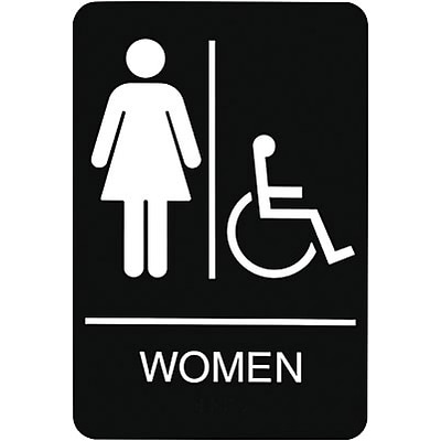 ADA Braille Restroom Sign; Women, Handicapped