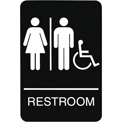 ADA Braille Restroom Sign; Men/Women, Handicapped