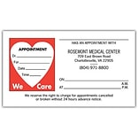 Medical Arts Press® Single-Imprint Peel-Off Sticker Appointment Cards; Heart