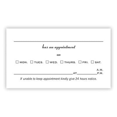 2-Sided Appointment Card; Days of the Week, Style D, White Vellum