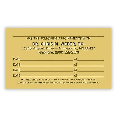 Basic Appointment Cards; Layout C, Smooth Finish, Ivory