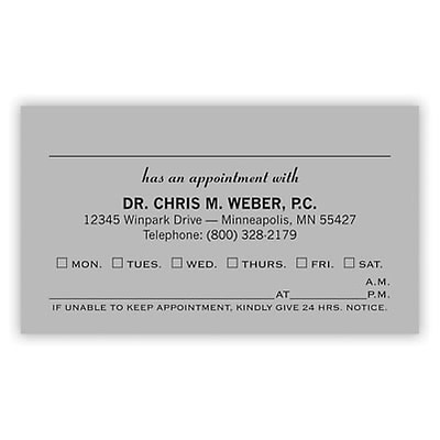 Basic Appointment Cards; Layout A, Laid Finish, Gray