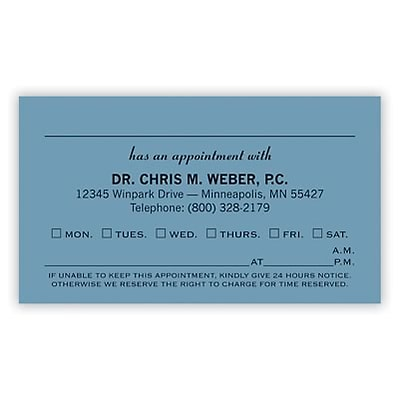Basic Appointment Cards; Layout A, Smooth Finish, Blue