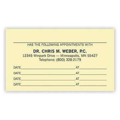 Basic Appointment Cards; Layout C, Linen Finish, Ivory
