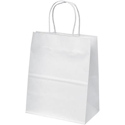 "Paper Gift Bag Totes; White, 7x9"", 250 Count"