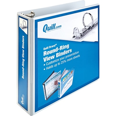 Quill Brand® 2 Round Ring Binder; View, White, 3-Ring