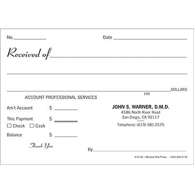 Medical Receipt Books; Personalized Receipt Pads  Payment Receipt Book