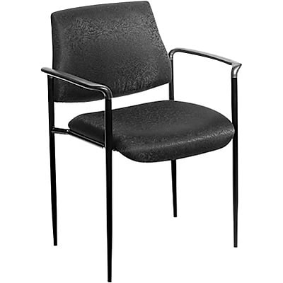 Boss® B9503 Series Stacking Chair with Arms; Black Fabric