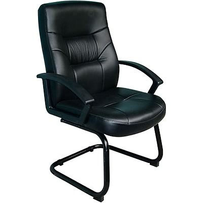 Boss® B7519 Series Leather Guest Chair with Sled Base