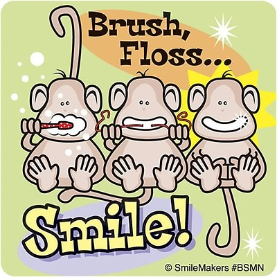 Smilemakers® Dental Stickers; Brush, Floss, Smile Monkey Sticker