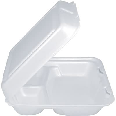 Dart® Foam Hinged Lid Carryout Container; 3-Compartment, 2-1/4Hx8Wx7-1/2D, 200/Case