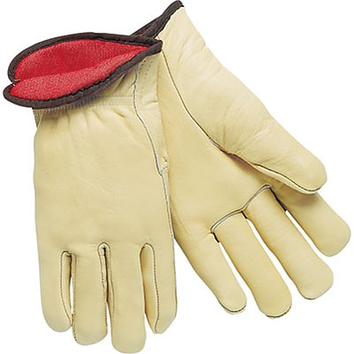 Memphis Gloves® Drivers Gloves; Red Fleece Lined Cow Leather, Slip-On Cuff, XL Size, Cream, 12 PRS