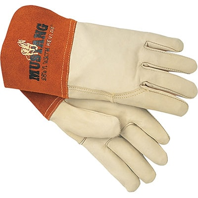 Memphis Gloves® Mustang® Welding Gloves; Cowhide Leather, Gauntlet Cuff, XL Size, Cream, 12 PRS