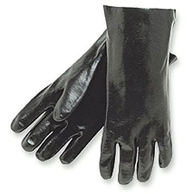Memphis Gloves® Dipped Gloves; PVC Smooth Finish, 12 Gauntlet Cuff, L Size, Black, 12 PRS