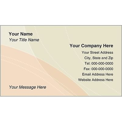Full Color Business Cards; Abstract, Peach and Green, 100 lb. Bright White