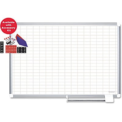 Mastervision Grid Planning Board W/Accessories, 1X2 Grid, 48X72, White/Silver