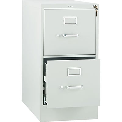HON® 320 Series Vertical File, 2-Drawer, Letter, Light Grey