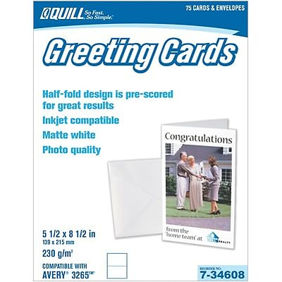 Quill Brand® Greeting Cards; 2-Sided, Matte