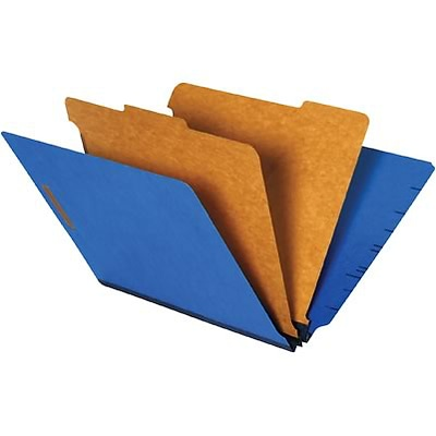 Quill Brand® End-Tab Partition Folders; 2 Partitions, 6 Fasteners, Cobalt Blue, Letter Size (8-1/2x11), 15/BX