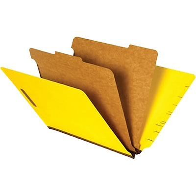 Quill Brand® End-Tab Partition Folders; 2 Partitions, 6 Fasteners, Bright Yellow, Letter Size(8-1/2x11), 15/BX