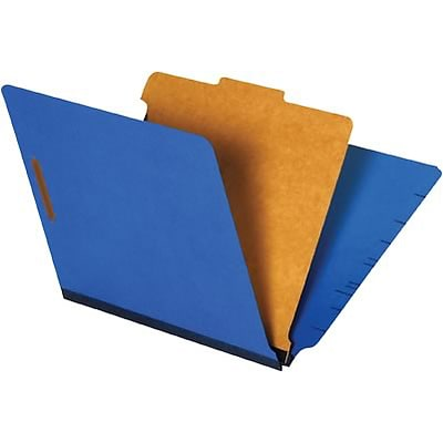 Quill Brand® End-Tab Partition Folders; 1 Partition, 4 Fasteners, Cobalt Blue, Letter Size (8-1/2x11), 15/BX