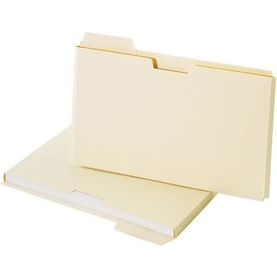 Quill Brand® 3-Tab File Folder Pockets, 3/4 Expansion, Left Position, Legal, Manila, 25/Pk (7153C25)