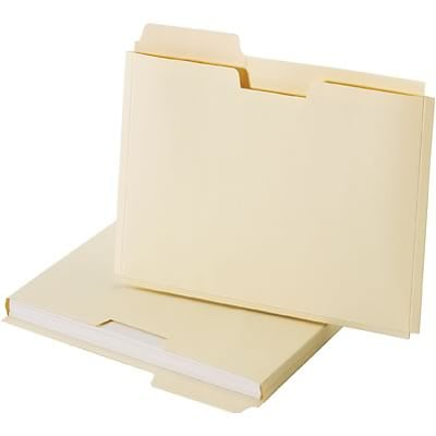 Quill Brand® File Folder Pockets, 3/4 Expansion 1/3 Cut Tabs, Left Position, Letter Size Size, Manila, 25/Pack (7153L25)