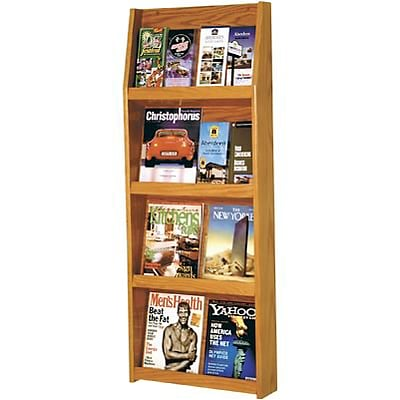 Wooden Mallet Full-View Wall-Mounted Literature Display; 16-Pocket, Oak Finish, 49x19-1/2x4-3/4