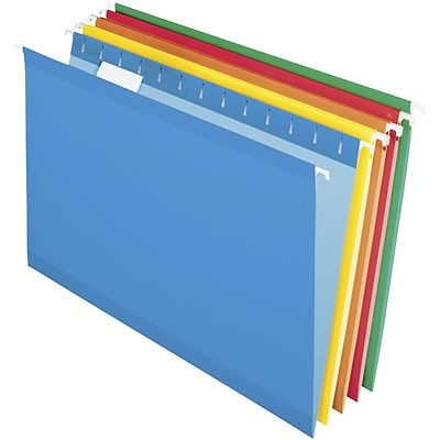 Quill Brand® Premium Reinforced 100% Recycled Hanging File Folders; 1/5-Cut Adjustable Tabs, Legal Size, Assorted Colors, 25/BX