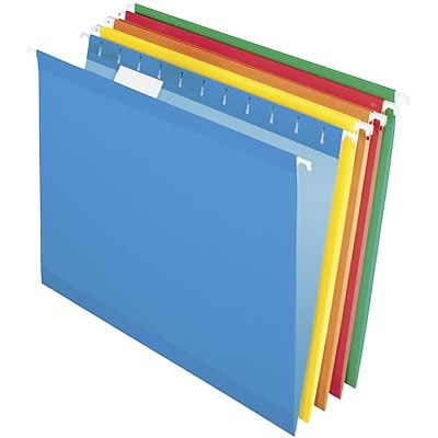 Quill Brand® Premium Reinforced 5-Tab Hanging File Folders, Letter, Assorted, 125/Ct (76215ADCT)