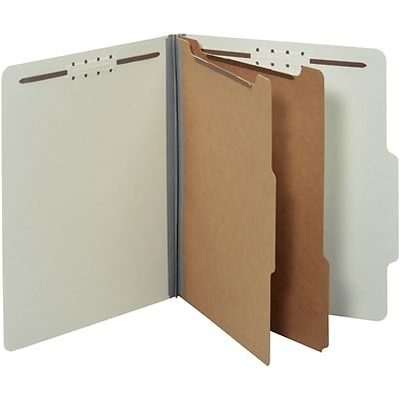 Quill Brand® Recycled Pressboard Classification Folders; 25-pt. 6-Fasteners, 2-Partitions, Letter Size, Grey, 15/BX