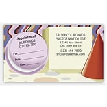 Medical Arts Press® Dual-Imprint Peel-Off Sticker Appointment Cards; Party Hat