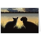 Medical Arts Press® Veterinary Sympathy Cards;  Dog / Cat Sunset, Personalized