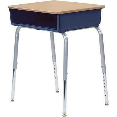 Virco® Adjustable-Height Open-Front Laminate Top Student Desk; Fusion Maple/Navy