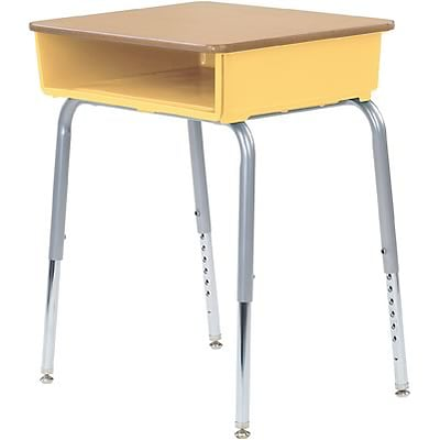 Virco® Adjustable-Height Open-Front Laminate Top Student Desk; Fusion Maple/Yellow