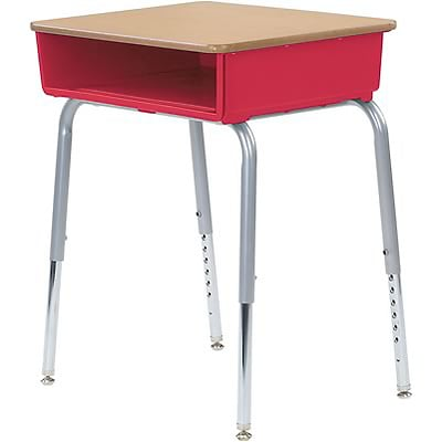 Virco® Adjustable-Height Open-Front Laminate Top Student Desk; Fusion Maple/Red